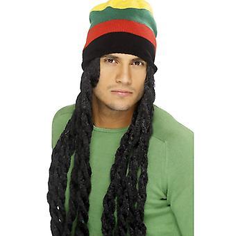 Rasta Hut mit Perücke XXL schwarz Jamaica Dreads Rastahut