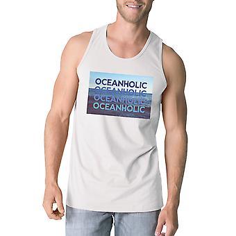 Oceanholic Mens vit grafik tankar lätta tropiska linne