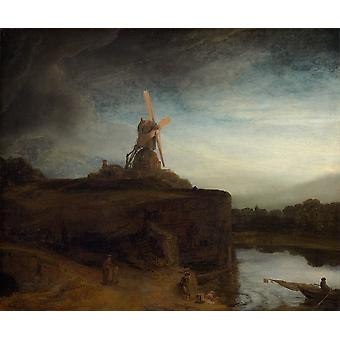 Rembrandt Harmenszoon van Rijn - The Mill fine art Poster Print Giclee