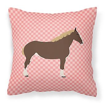 Percheron Horse Pink Check Fabric Decorative Pillow
