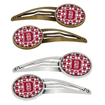 Letter D Football Crimson, grey and white Set of 4 Barrettes Hair Clips