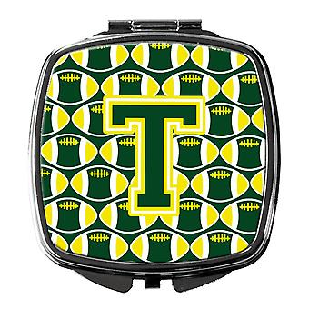 Letter T Football Green and Yellow Compact Mirror