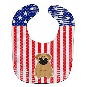 Carolines Treasures  BB3002BIB Patriotic USA Pug Brown Baby Bib
