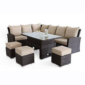 *Maze Rattan Kingston Corner Dining Rattan Set with rising table