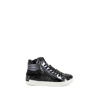 Kriminalitet London women's 2532520 sort læder Hi Top sneakers