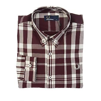 Fred Perry men's M2507799 White/Burgundy cotton shirt