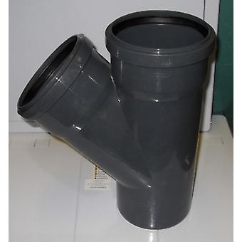 Tubulação de solo filial 110 mm com uma entrada de 110 mm de 45 graus - Push Fit - cinza