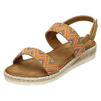 Ladies Savannah Coloured Studded Sandals F10806 - Tan Microfibre - UK Size 3 - EU Size 36 - US Size 5