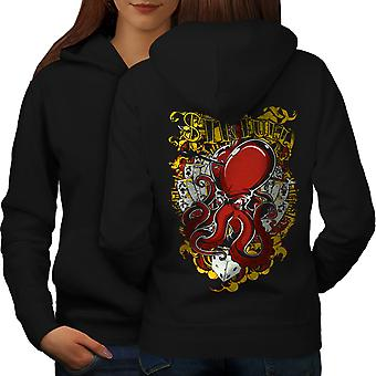 Sinful Poker Card Gamble Women BlackHoodie Back | Wellcoda