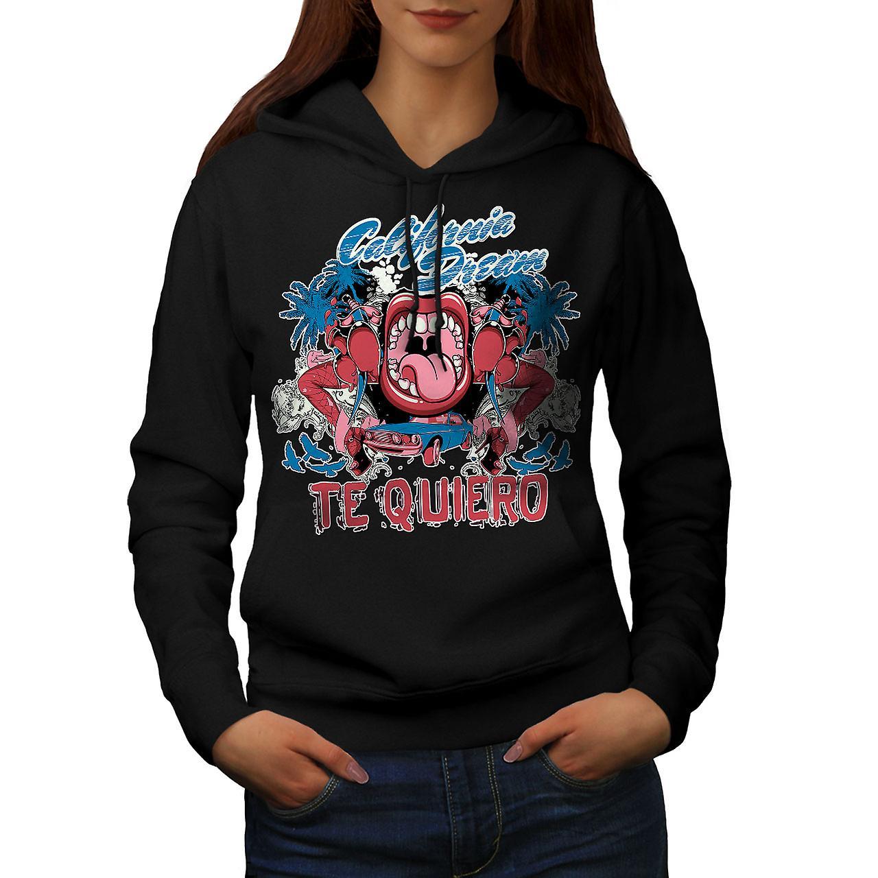 Te Quiero Art California Women Black Hoodie | Wellcoda