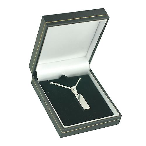 Silver 22x8mm solid display hallmark Ingot quarter of an ounce Pendant on a bail with a curb Chain 18 inches
