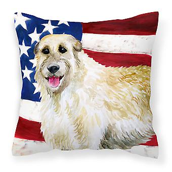 Irish Wolfhound Patriotic Fabric Decorative Pillow