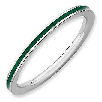 Sterling Silver Polished Rhodium-plated Stackable Expressions Green Enameled 1.5mm Ring - Ring Size: 5 to 10