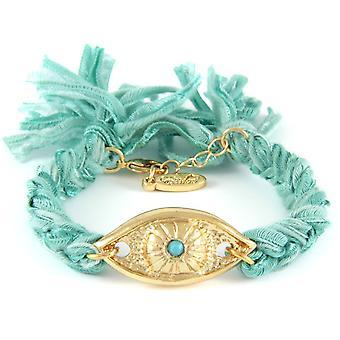 Ettika - Bracelet yellow gold eye and cotton braided ribbons Turquoise