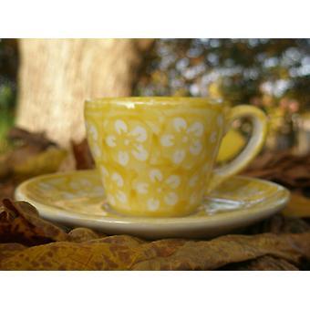 Espresso Cup & saucer, 2. W., Bolesławiec yellow, BSN J-925
