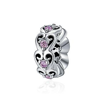Sterling silver romantic spacer with zirconia stones SCC339