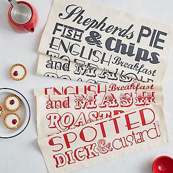English dinner tea towel