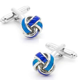 Nudo azul trenzado plata gemelos gemelos de tono para todas las ocasiones