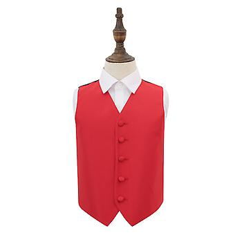Red Solid Check Wedding Waistcoat for Boys