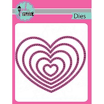 Pink & Main Dies-Double Stitched Heart