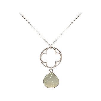 Gemshine - Damen - Halskette - Anhänger - CLOVER - 925 Silber - DRUZY - Weiß - Quarz - 45 cm