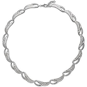 trendy necklace 925 rhodium-plated sterling silver 50 cm carabiner partially hammered