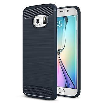 Samsung Galaxy S6 edge TPU case carbon fiber optics brushed protective case Blue