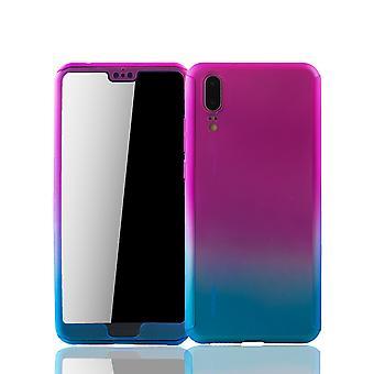Huawei P20 mobiele bescherming-case volledige gevaldekking van het tank bescherming glas roze / blauw
