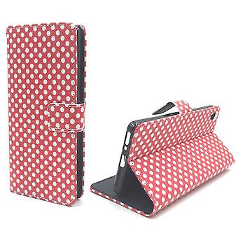 Mobile case bag for mobile phone Sony Xperia XA polka dot Red