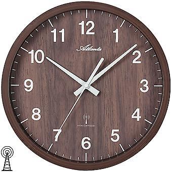 Atlanta 4438/20 parete orologio radio controllato radiofonico parete orologio analogico marrone marrone in finitura legno scuro