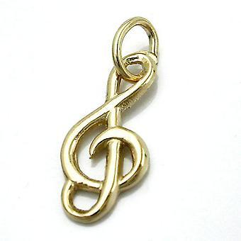 16x7mm shiny clef pendant 14Kt GOLD