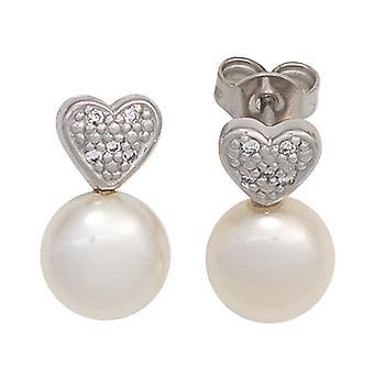 Шпильки 585/w SWZP 0,04 жемчужные серьги алмаз блестящие бусины