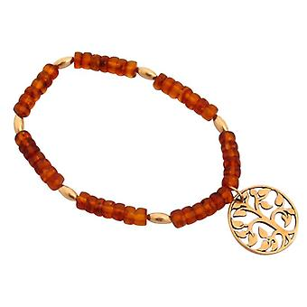 Ambers dames armband amber boom des levens bruin geel amber armband