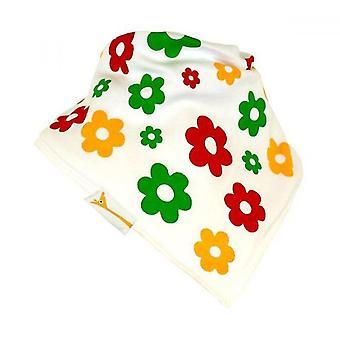 Bandana babero de flores blanco, rojo, verde y amarillo