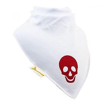 White & red skull xl bandana bib