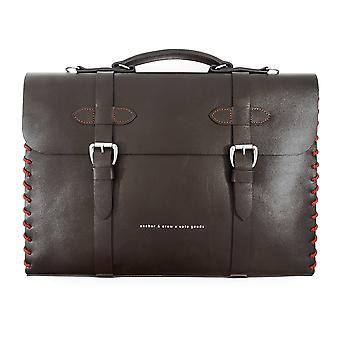 Anchor & Crew Small Deep Brown Rufford Leather and Rope Briefcase