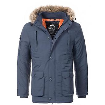 Crosshatch Mens Parka Fur Hood Parka Thick Quilted Padded Waterproof Winter Coat Jacket