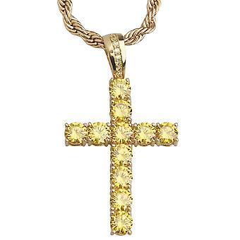 Iskallt ut bling tennis charms - cubic zirconia cross guld