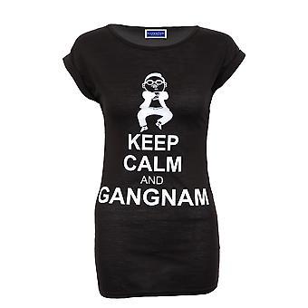 Neue Damen Lücke Sleeve Gangnam Print schwarz weiß blau T-Shirt Damen Top