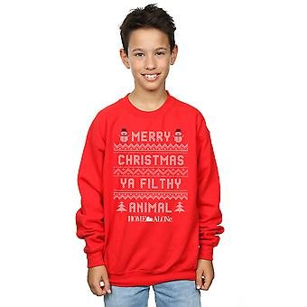 Home Alone Boys Filthy Animal Knit Style Sweatshirt