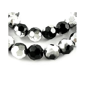 Strand 40+ Black/Silver Czech Crystal Glass 8mm Faceted Round Beads HA20700