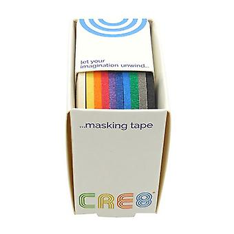 Cre8 Masking Tape 10 Assorted Solid Colour Box 3mm