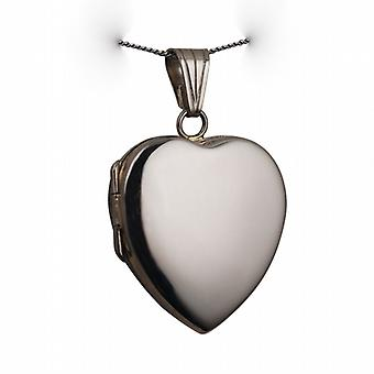 9ct White Gold 24x20mm plain heart shaped Locket with a curb Chain 20 inches