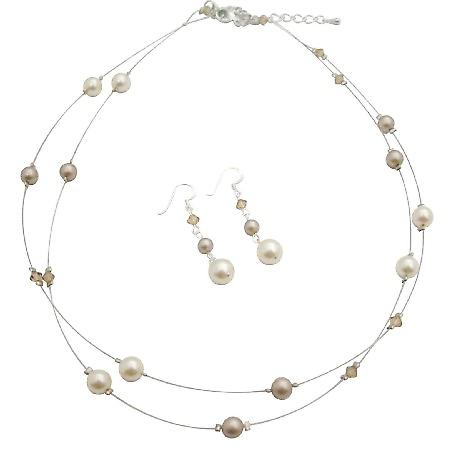 Ivory Pearl Colorado Crystal Double Stranded Necklace Earrings Jewelry