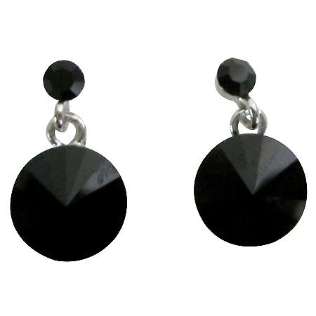 Formal Wear Gorgeous Black Crystal Stud Earrings