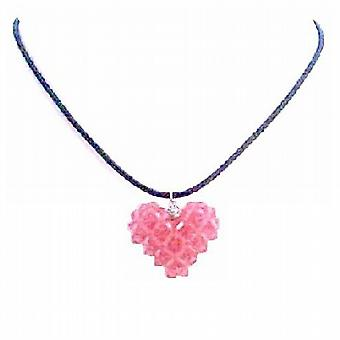 Rose 3D Swarovski Crystals Puffy Heart Necklace Handmade Pendant