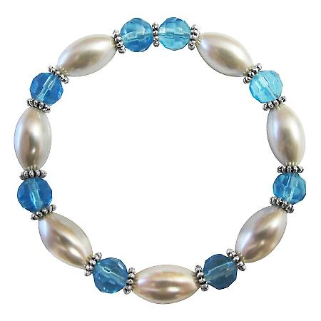 Ethnic White Oval Pearl Aquamarine Glass Ball Bali Silver Bracelet