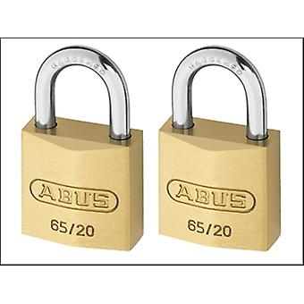 65/20 20MM BRASS PADLOCK TWIN PACK CARDED