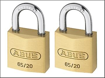 ABUS 65/20 20mm Brass Padlock Twin Pack Carded