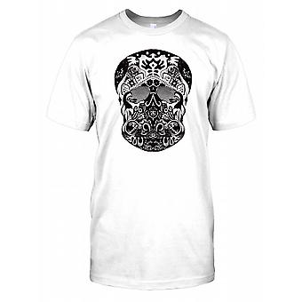 Aztec Carved Skull Black and Silver Mens T Shirt